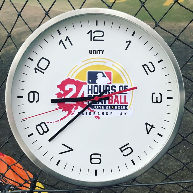 a clock from the Midnight Sun Baseball Game, showing 8:30 pm